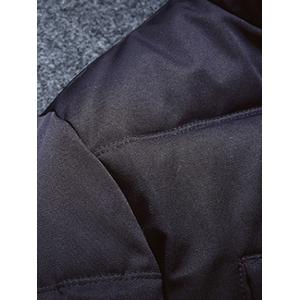 Multi-Pocket Quilted Coat with Fur Hood -