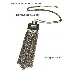 Alloy Rhinestone Geometric Tassel Chains Necklace - BRONZE-COLORED