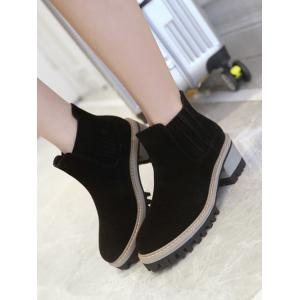 Chunky Heel Suede Ankle Boots - BLACK 38