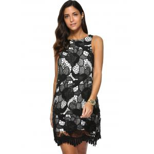Sleeveless Floral Lace Dress -