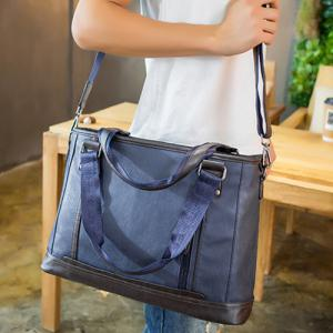 Zip PU Leather Laptop Bag -