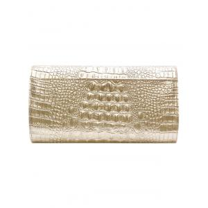 PU Leather Rhinestones Embossing Evening Bag - WHITE