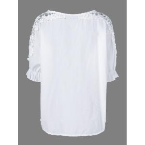 Openwork Lace Up Blouse -