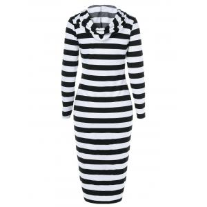 Midi Stripe Fitted Hooded Long Sleeve Dress - WHITE AND BLACK 2XL