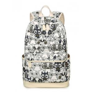 Color Block Owl Pattern Canvas Backpack -