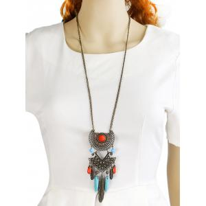Faux Gem Feather Layered Necklace - BRONZE