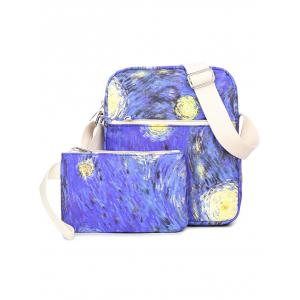 Color Splicing Print Zippers Backpack -