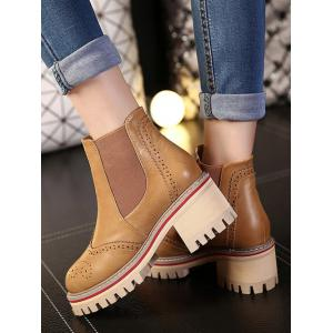 Engraving Chunky Heel Ankle Boots - LIGHT BROWN 39