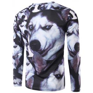 3D Animal Print Round Neck Long Sleeve T-Shirt - COLORMIX 2XL
