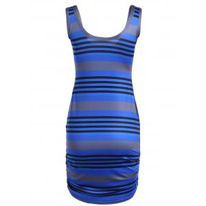 U Neck Striped Casual Bodycon Dress -