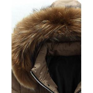 Applique Quilted Coat with Fur Hood - BLACK 3XL