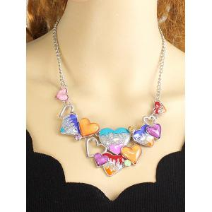 Faux Gem Heart Necklace and Earrings - COLORMIX