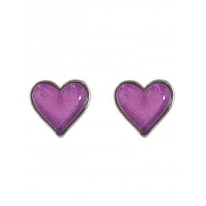 Faux Gem Heart Necklace and Earrings -
