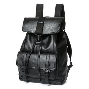 Buckle Strap Drawstring Backpack - BLACK
