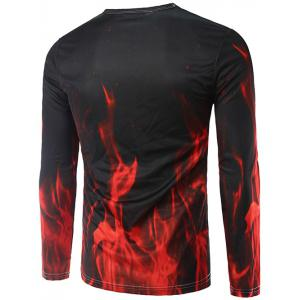Fire Horse 3D Print Long Sleeve T-Shirt - BLACK 2XL