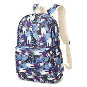Zippers Floral Print Colour Block Backpack -