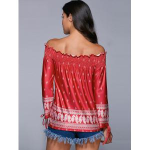 Tribal Print Tied-Up Off The Shoulder Blouse -