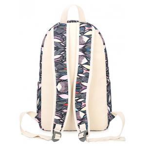 Color Block Fish Print Zippers Backpack -