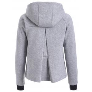 Two Tone Zip Up Hoodie - GRAY L