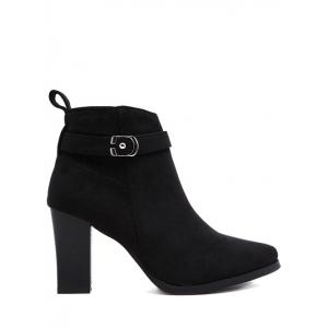 Buckle Chunky Heel Ankle Boots -