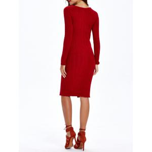 Cable-Knit Furcal Double-Wear Dress - DEEP RED ONE SIZE