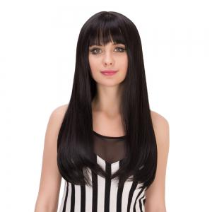 Long Full Bang Tail Adduction Heat Resistant Fiber Wig - BLACK BROWN