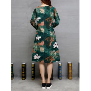 Lotus Print Ink-Painting Loose A-Line Dress - GREEN M