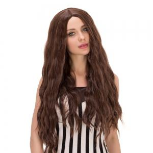 Long Centre Parting Wavy Heat Resistant Fiber Wig - DEEP BROWN
