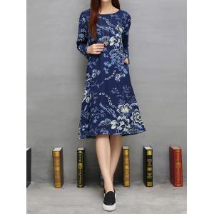 Pockets Design Flowers Printed A-Line Dress -