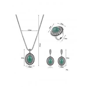 Faux Emerald Rhinestone Geometric Jewelry Set - GREEN ONE-SIZE