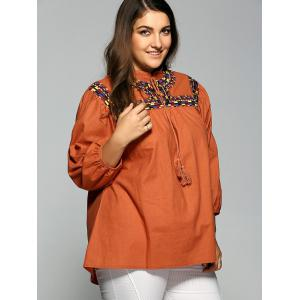 String Printed Fringed Blouse -