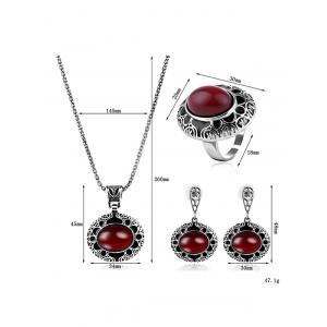 Faux Ruby Gemstone Etched Flower Jewelry Set -