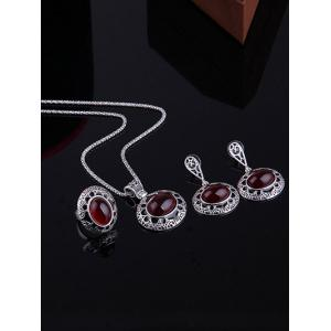 Faux Ruby Gemstone Etched Flower Jewelry Set - RED ONE-SIZE