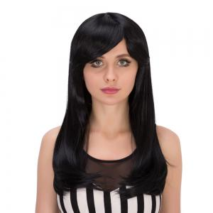 Gorgeous Long Side Bang Tail Adduction Heat Resistant Fiber Wig - BLACK