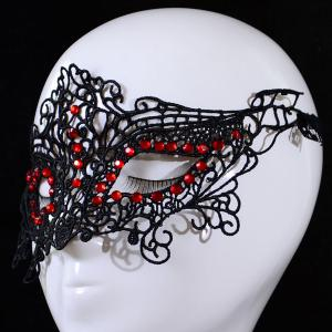 Gothic Style Faux Ruby Lace Party Mask -