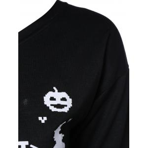 Letter Halloween Sweatshirt - BLACK 3XL