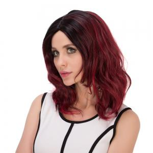 Medium Double Color Bouffant Centre Parting Wavy Synthetic Wig -