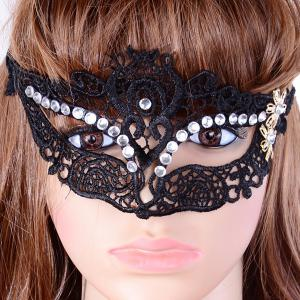 Gothic Style Rhinestone Flower Lace Party Mask -