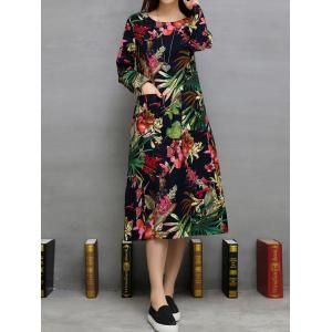 Loose Flowers Print Double Pockets A-Line Dress -