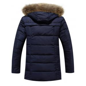 Zipper Button Quilted Coat with Fur Hood -