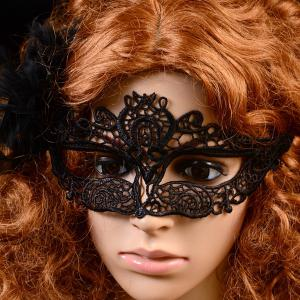 Hollowed Lace Party Mask - BLACK