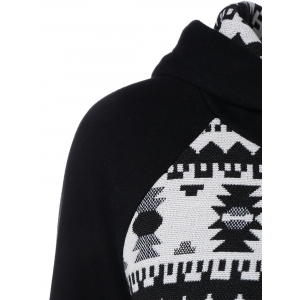 Geometric Pattern Front Pocket Hoodie - WHITE AND BLACK 2XL