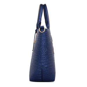 Embossed PU Leather Zipper Tote Bag -
