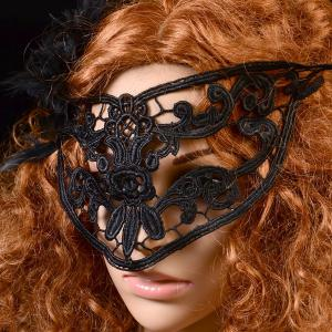 Gothic Style Flower Cat Eye Lace Party Mask - BLACK
