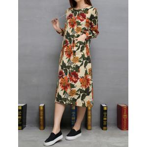 Floral Print Twin Pockets A-Line Dress -