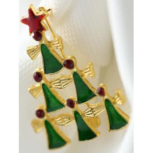 Layered Geometric Pentagram Christmas Tree Brooch -