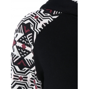 Raglan Sleeve Front Pocket Printed Hoodie - BLACK AND WHITE AND RED 2XL