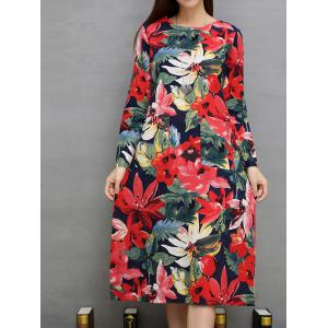 Flower Print Pockets Design A-Line Dress -