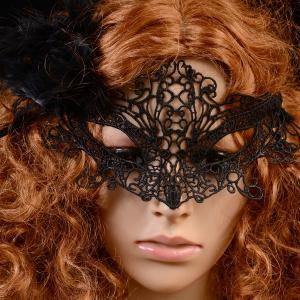 Gothic Style Fox Shape Lace Party Mask - BLACK