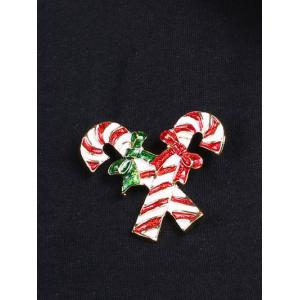 Alloy Candy Cane Bows Christmas Brooch -